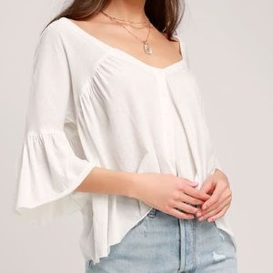 Free People Sweet Little Ivory Flounce Sleeve Top